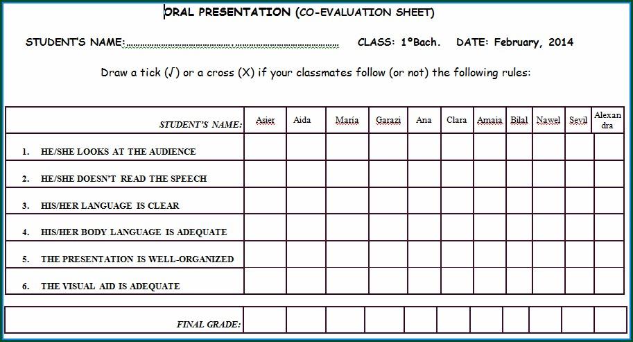 Oral Presentation Peer Grading Worksheet