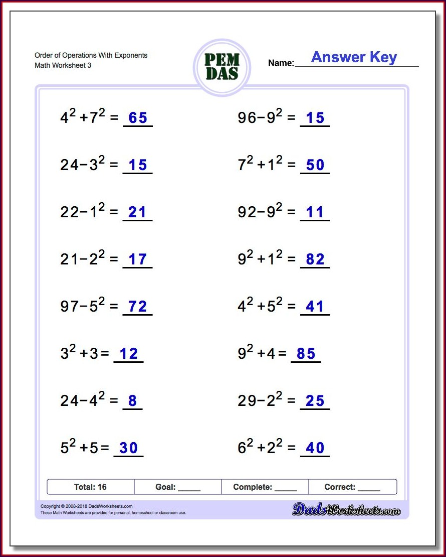 Order Of Operations And Evaluating Expressions Worksheet Pdf