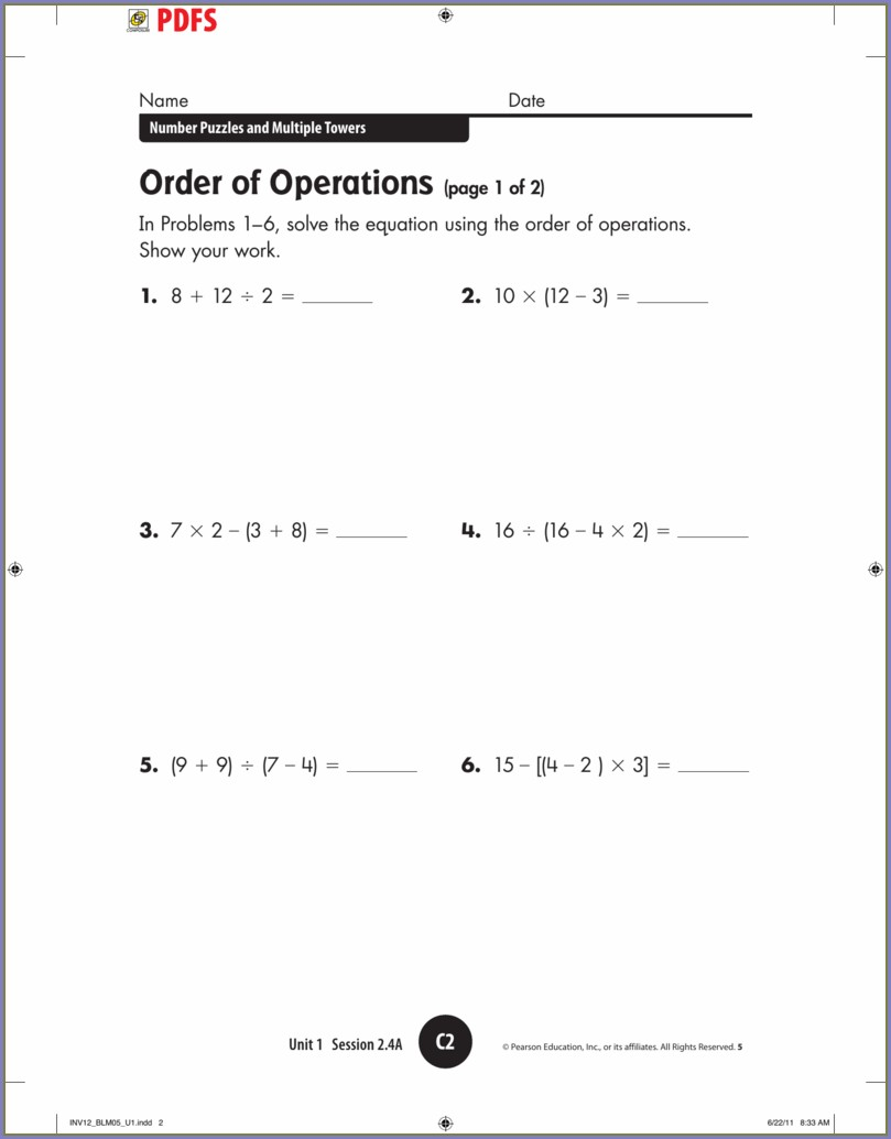 Order Of Operations And Solving Equations Worksheet