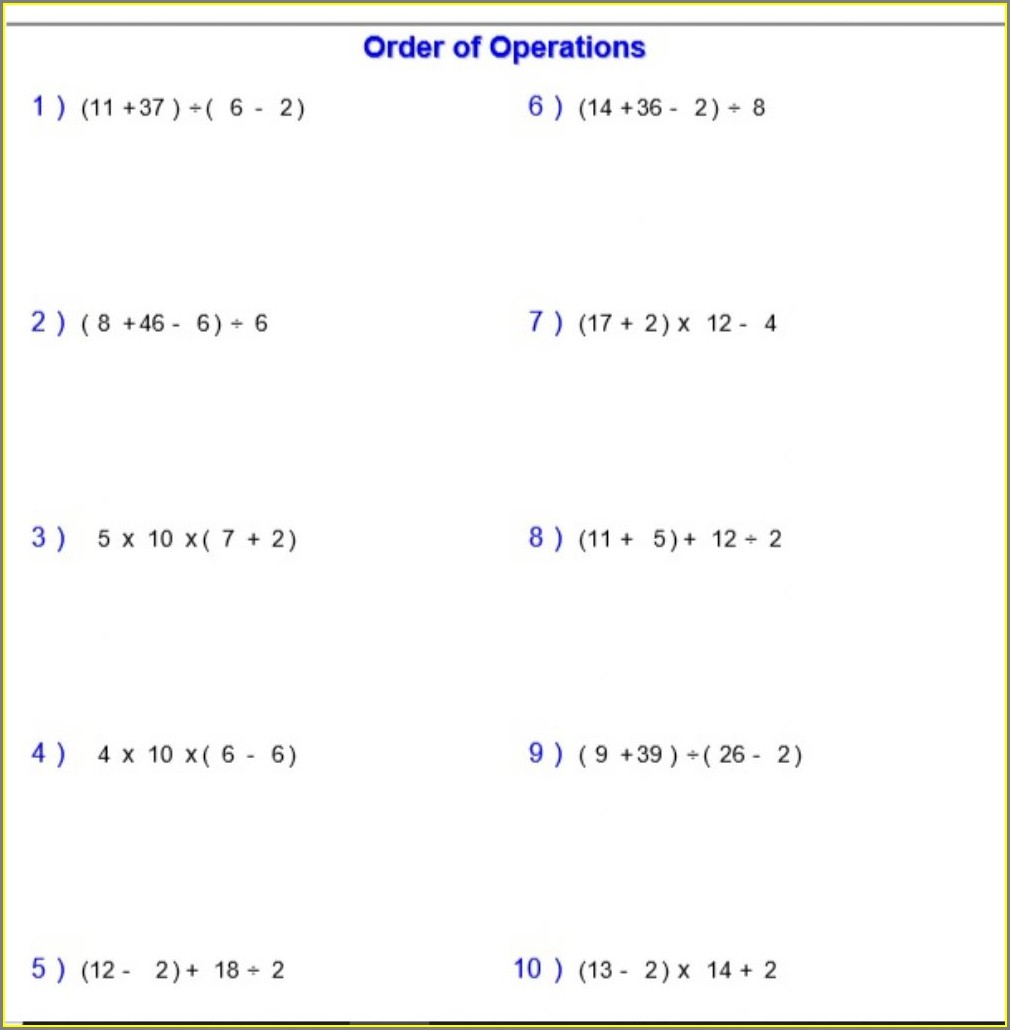 Order Of Operations Mdas Worksheet
