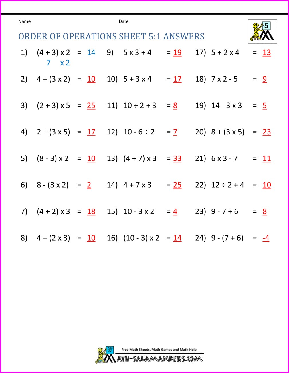 Order Of Operations With Exponents Worksheet Pdf