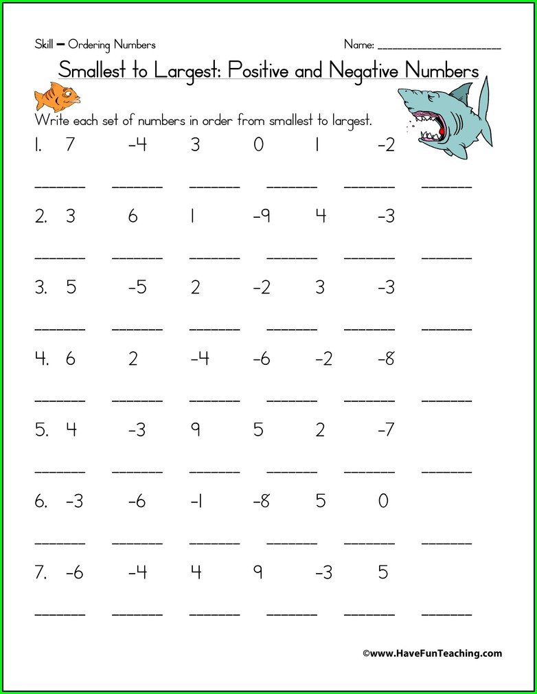 Order Of Operations With Negative Numbers Worksheet