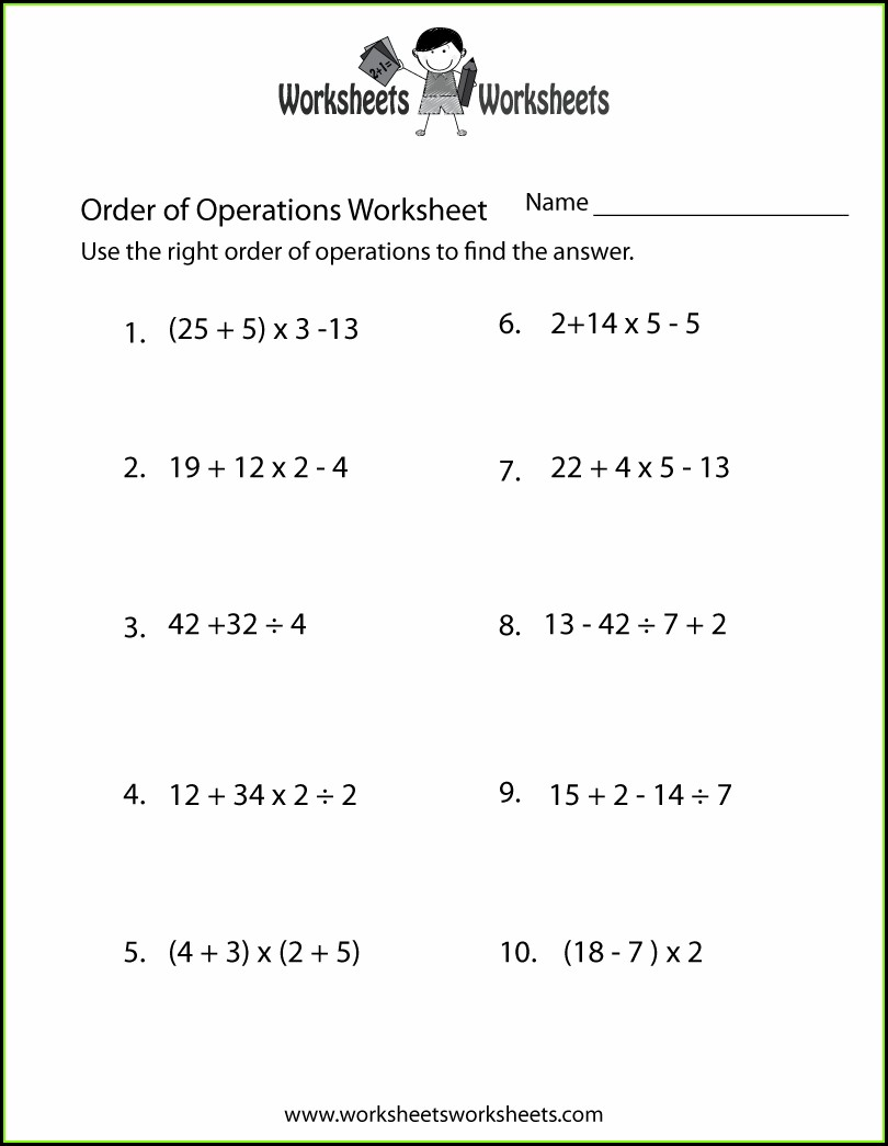 Order Of Operations Worksheet Teachers Pay Teachers