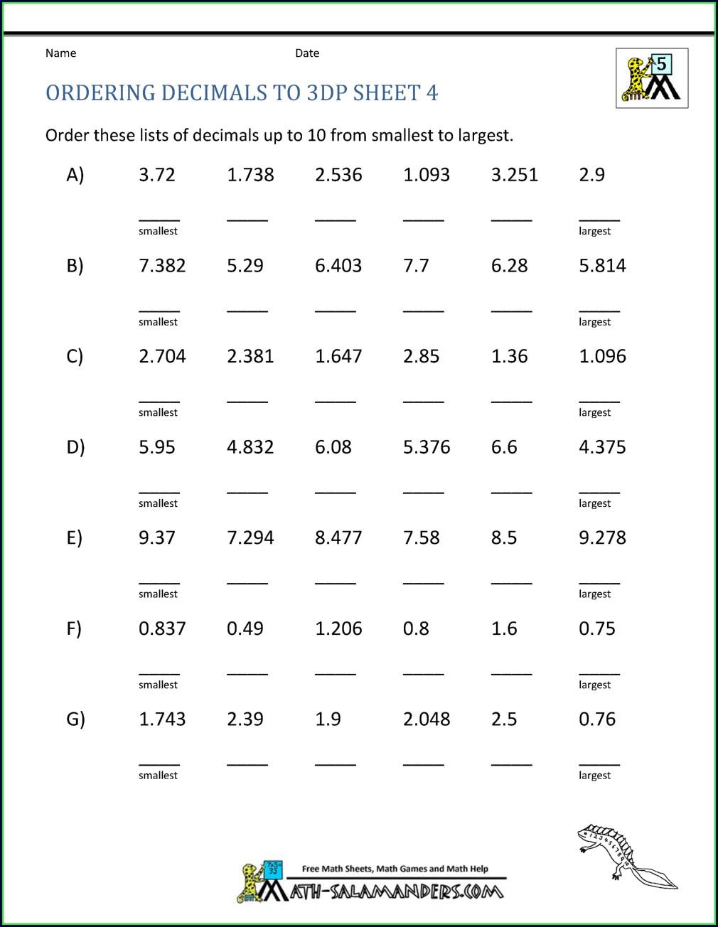 Ordering Decimal Numbers Worksheet
