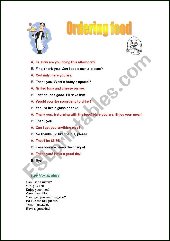 Ordering Food Esl Worksheet