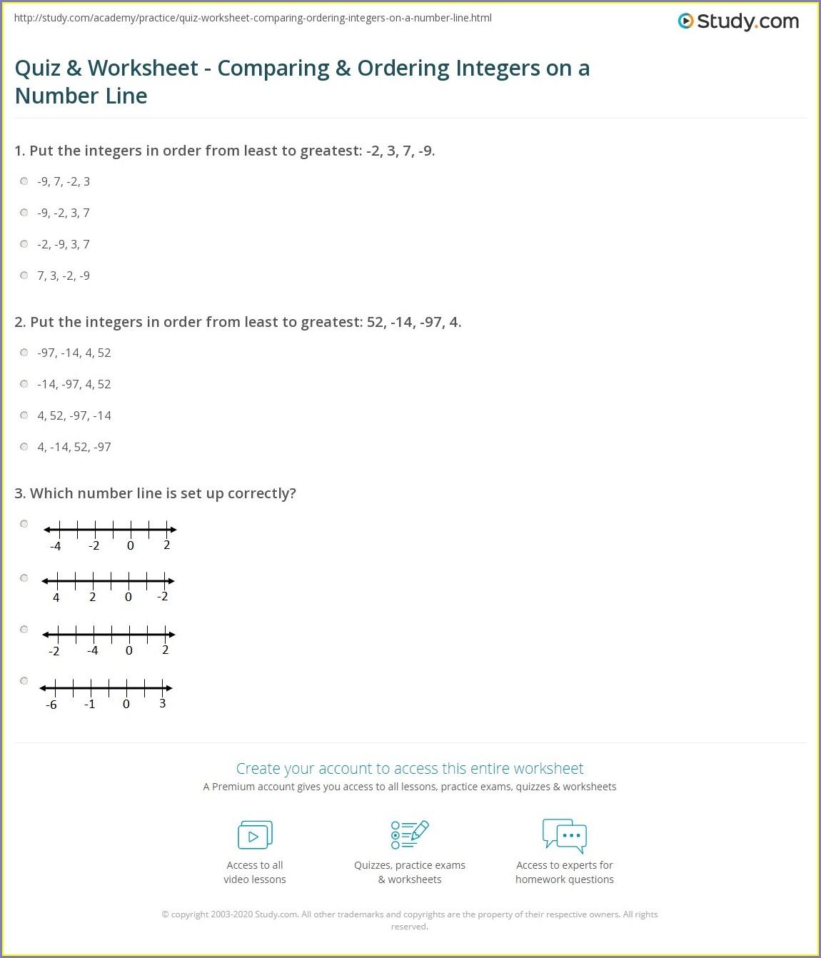 Ordering Integers On A Number Line Worksheet