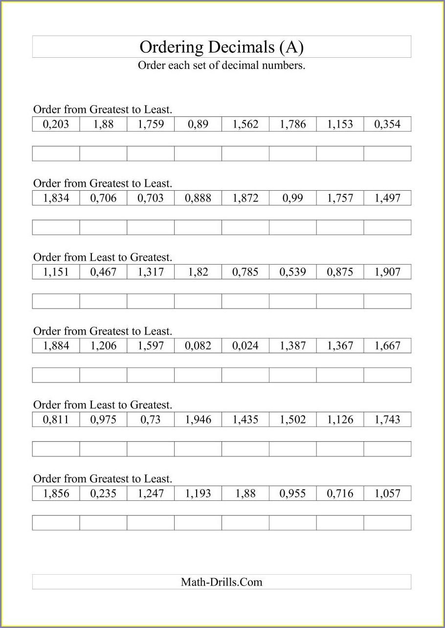 Ordering Negative Decimal Numbers Worksheet