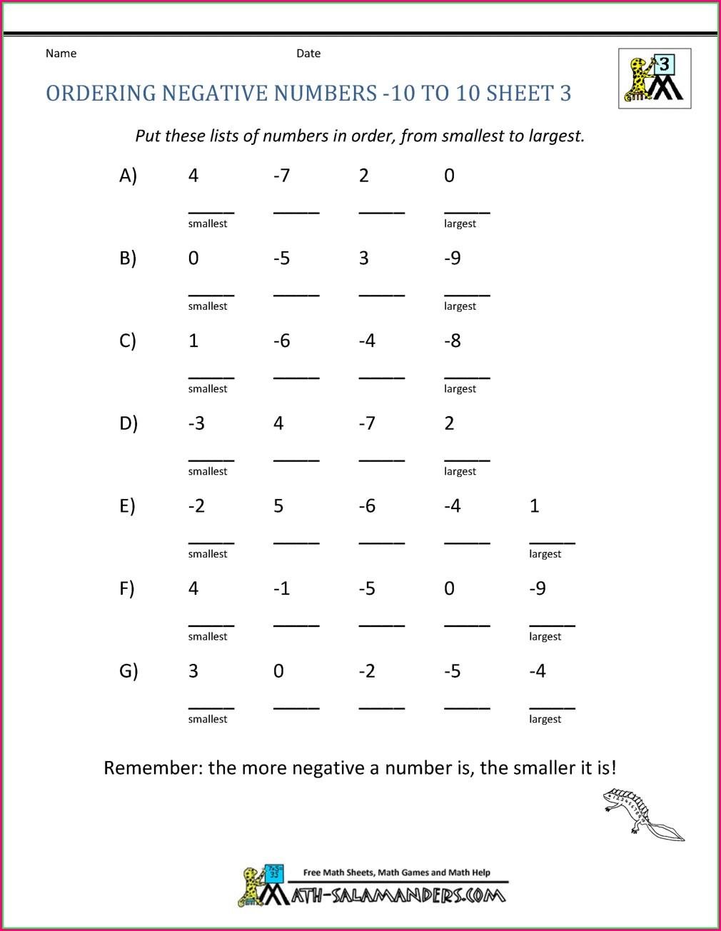 Ordering Negative Numbers Worksheet Tes