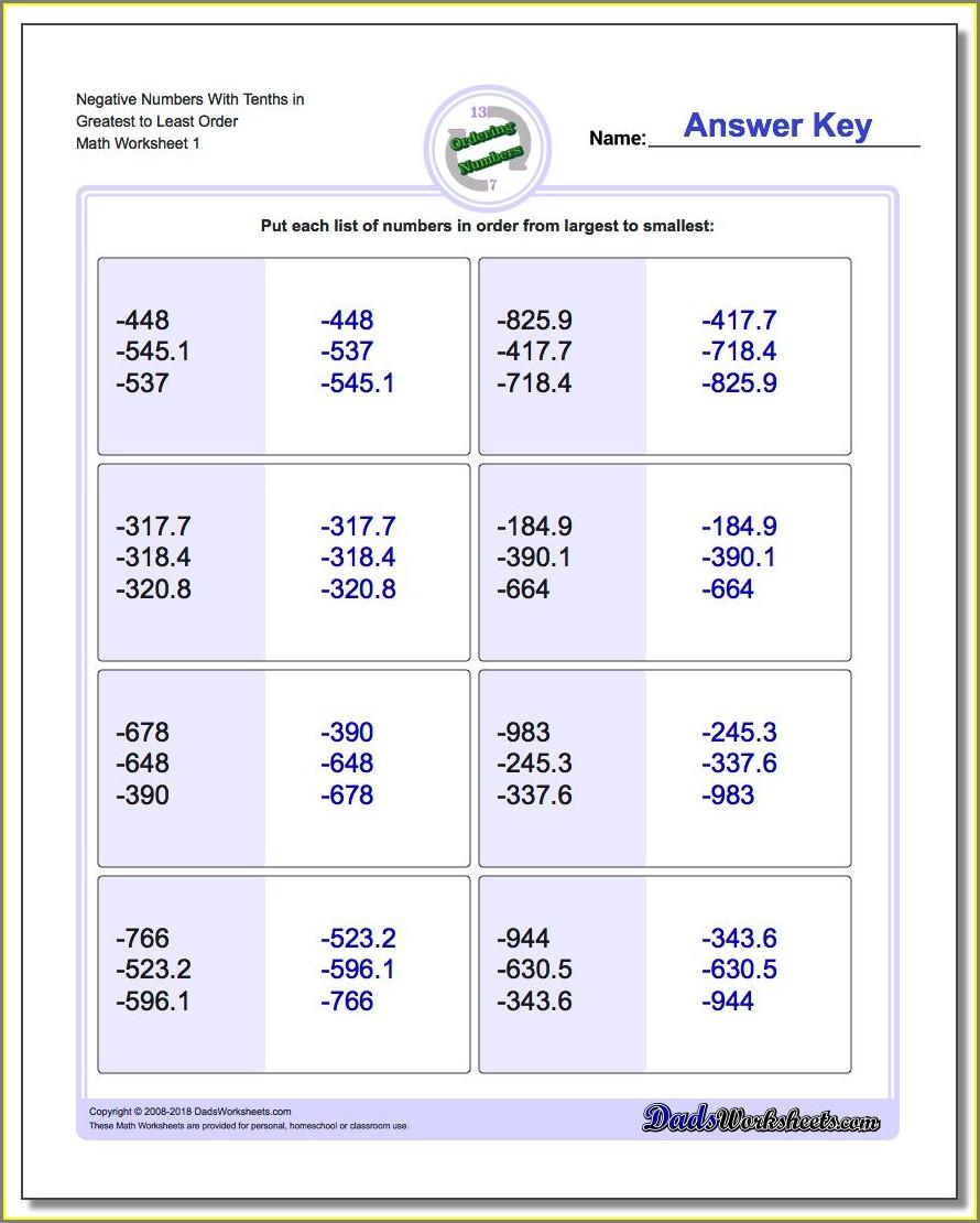 Ordering Negative Numbers Worksheet Year 3