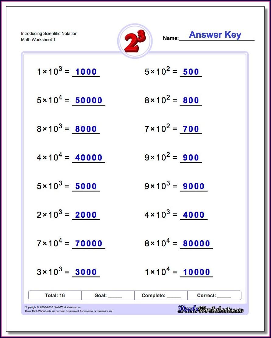 Ordering Numbers In Scientific Notation Worksheet