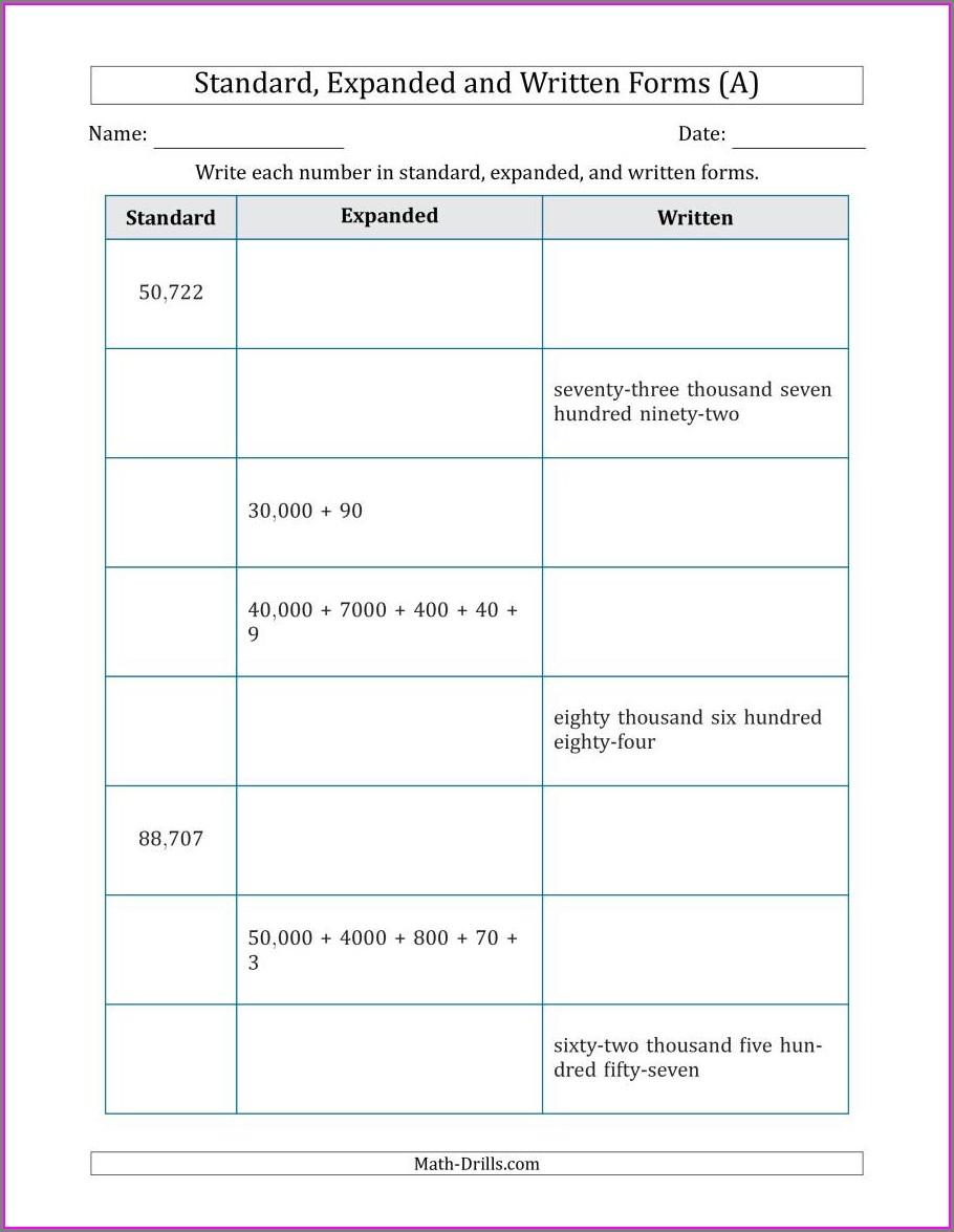 Ordering Numbers In Standard Form Worksheet