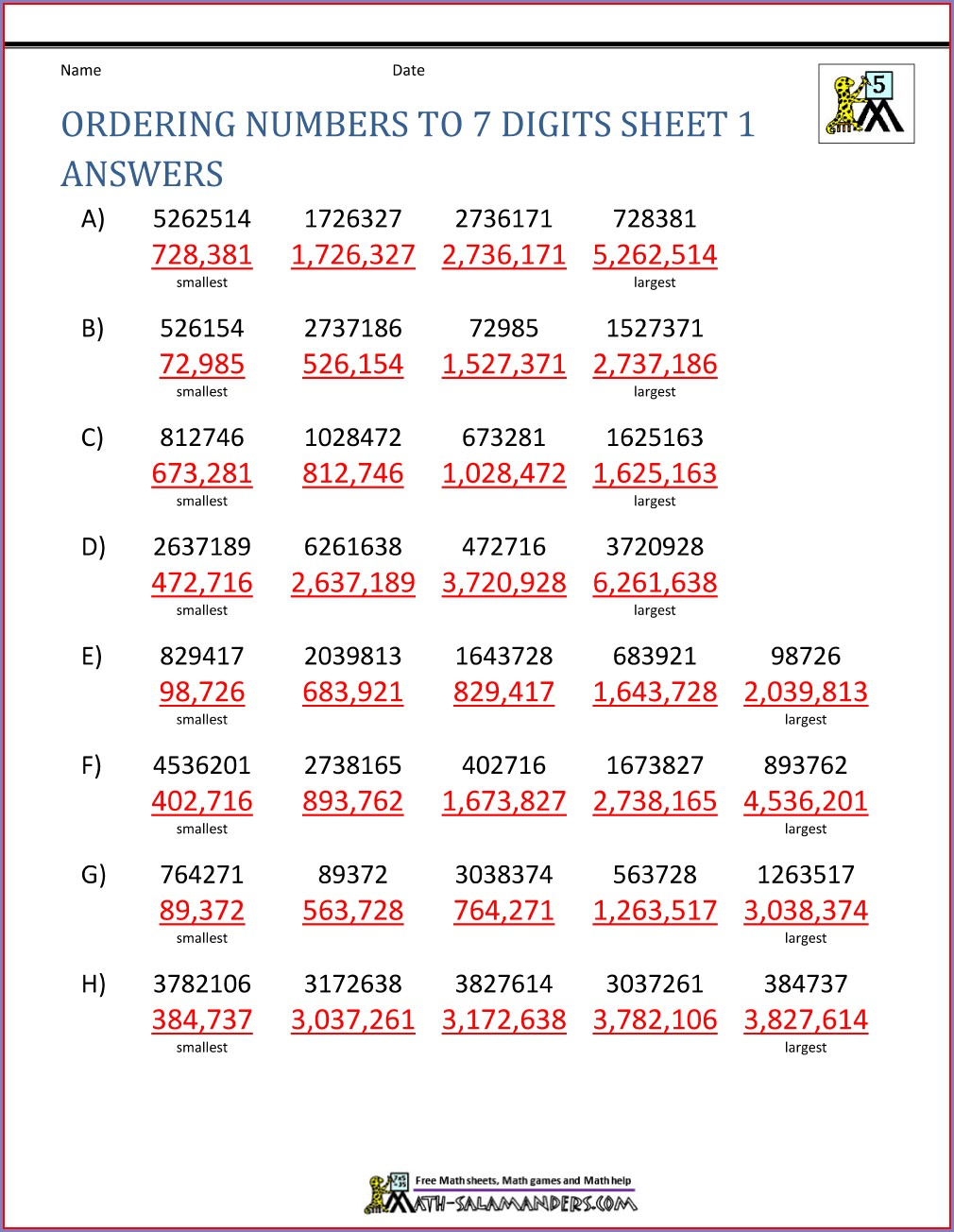 Ordering Numbers Up To 1 Million Worksheet