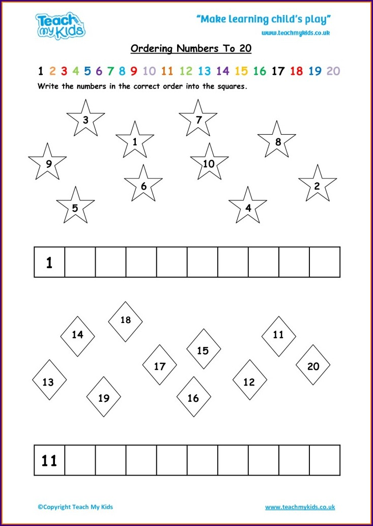Ordering Numbers Up To 20 Worksheet