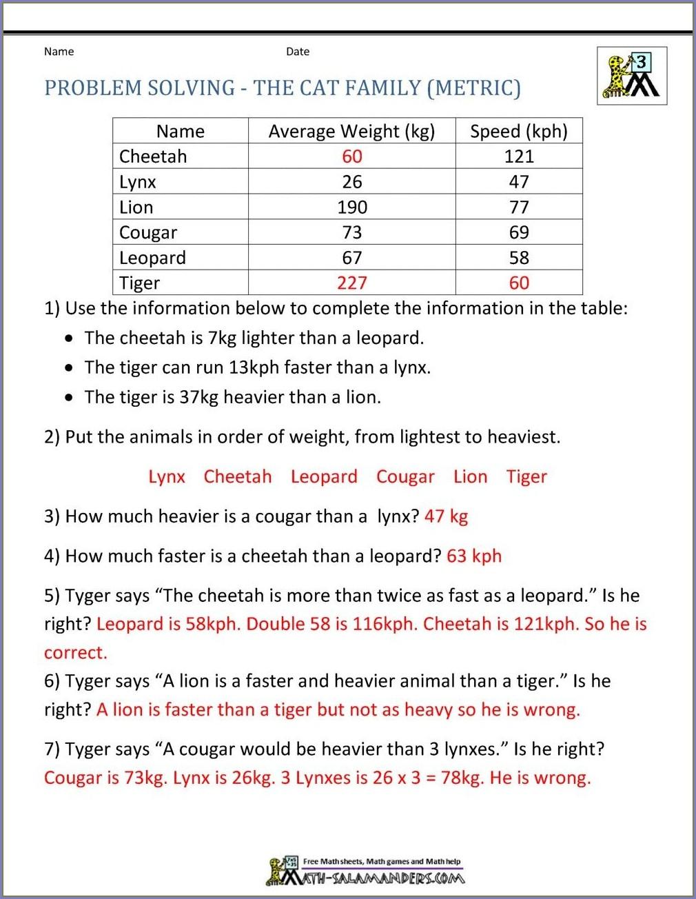 Ordering Numbers Word Problems Worksheets