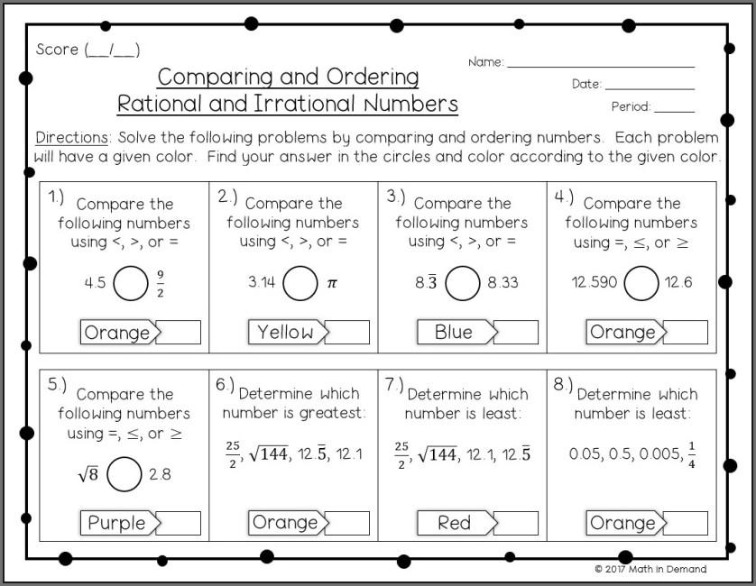 Ordering Rational Numbers Worksheet Free