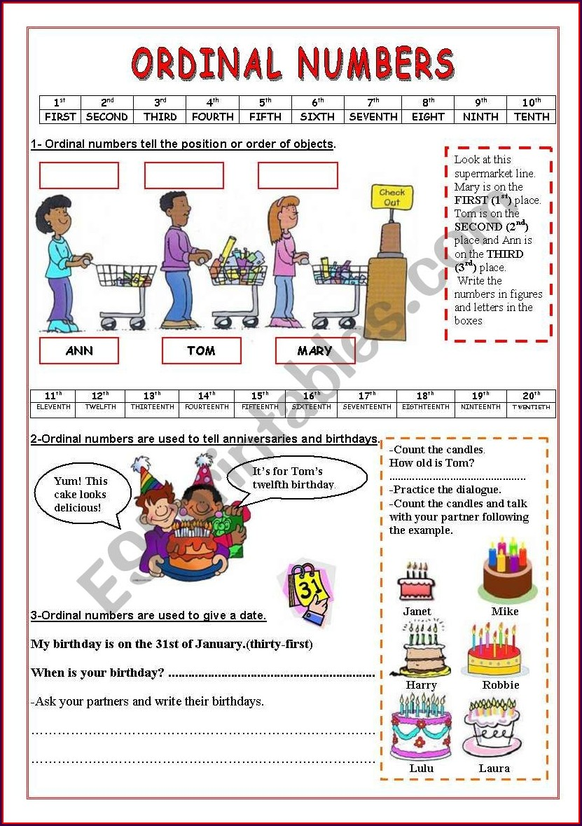 Ordinal Numbers Exercises On Line