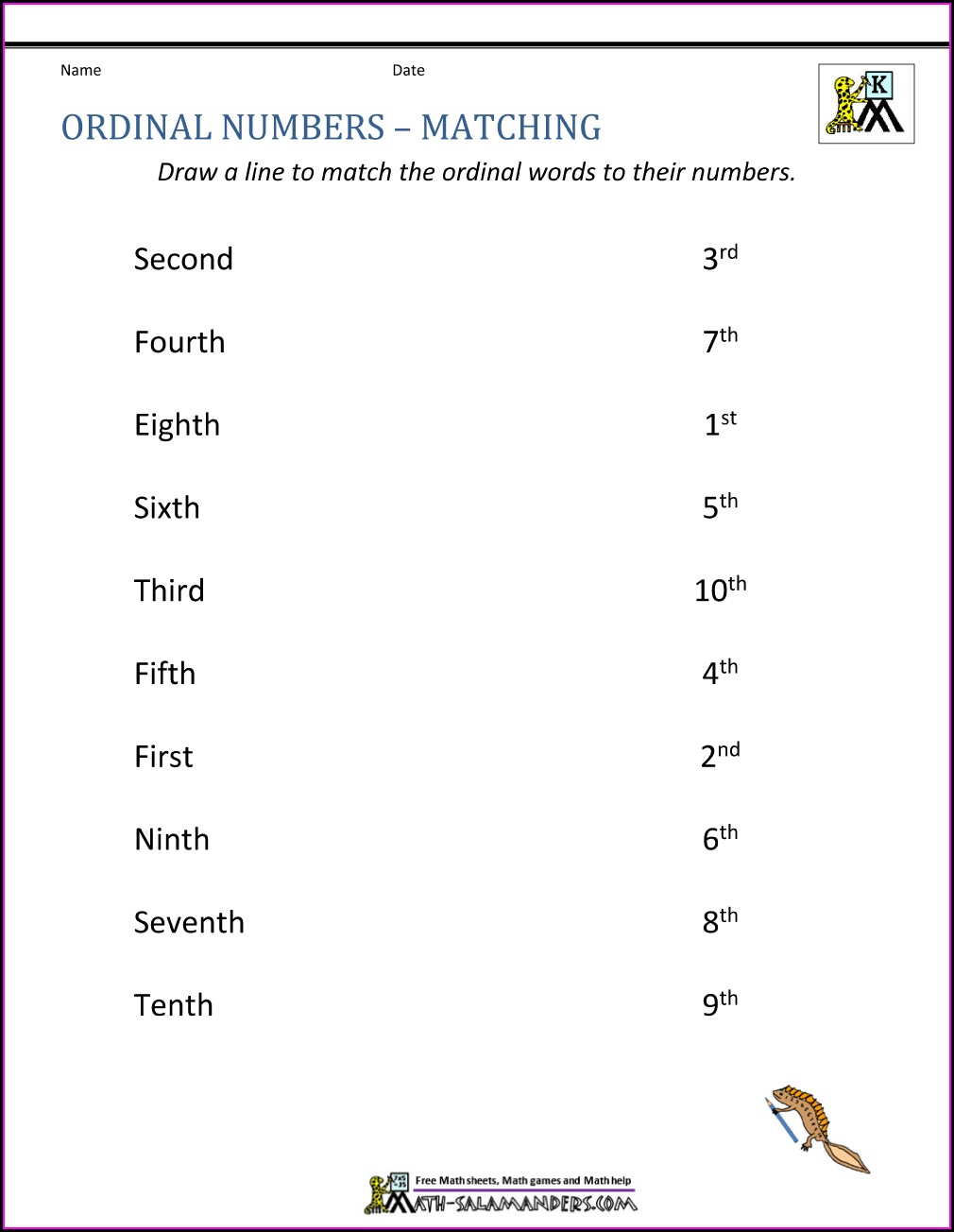 Ordinal Numbers First To Tenth Worksheets
