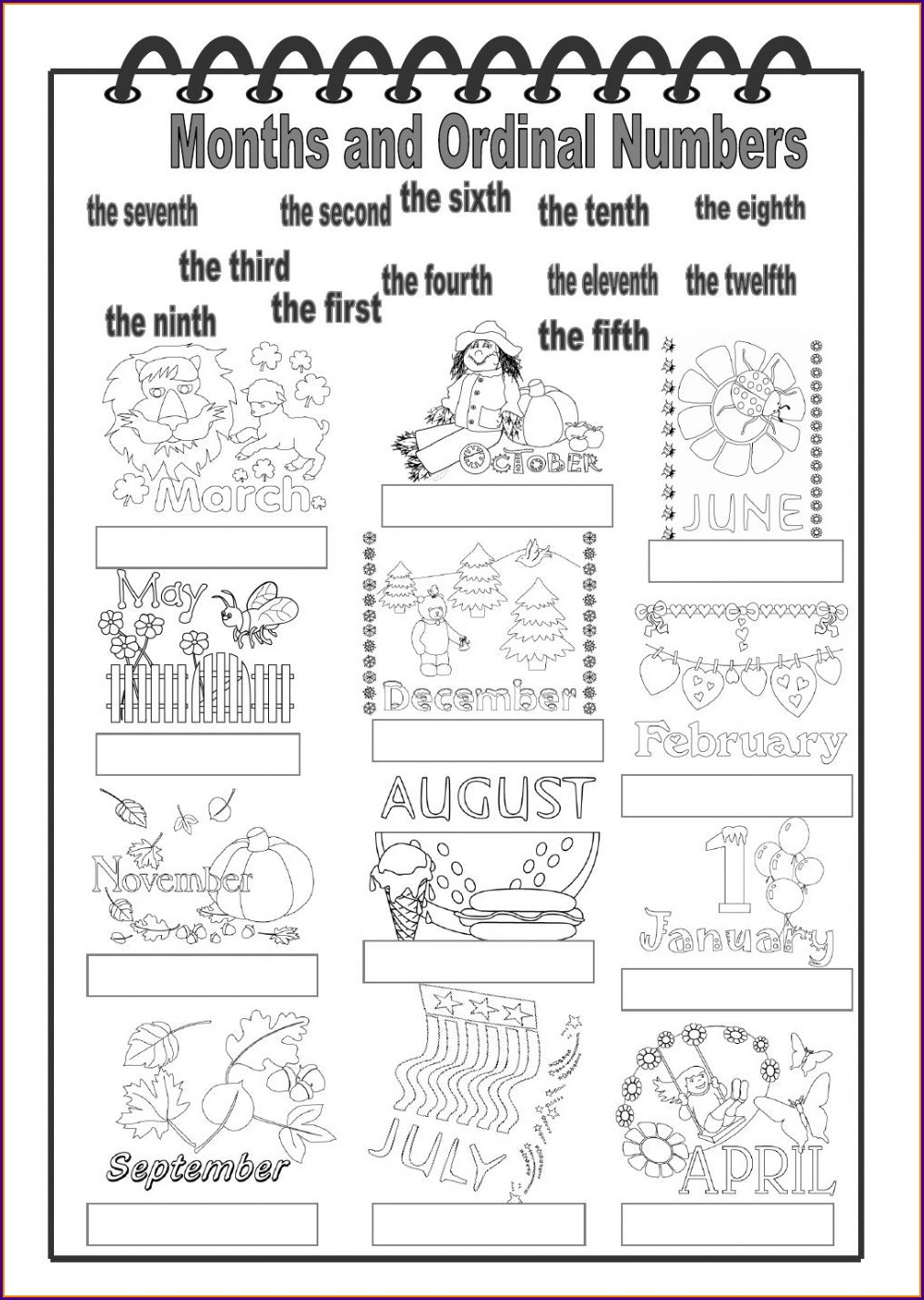 Ordinal Numbers Months Exercises