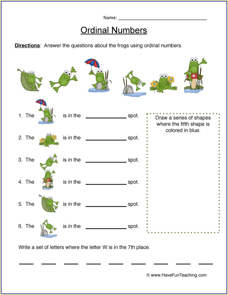 Ordinal Numbers To 10 Th Worksheet
