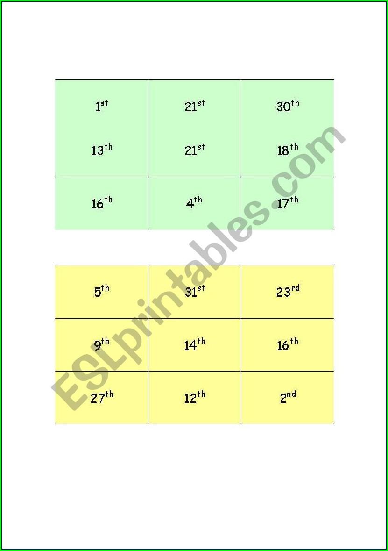 Ordinal Numbers Worksheet For Esl