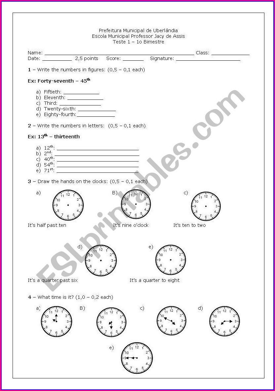 Ordinal Numbers Worksheet Tes