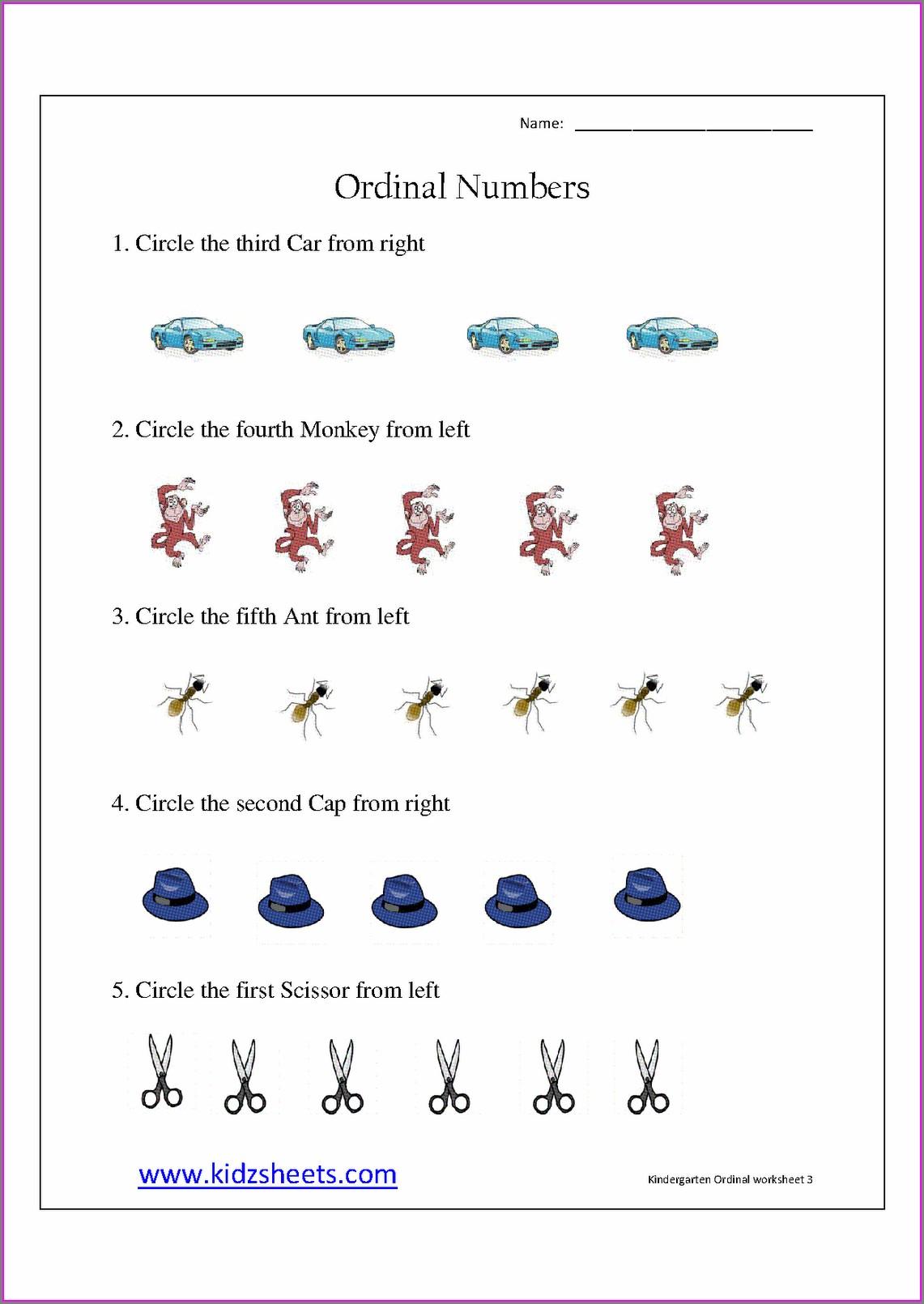 Ordinal Numbers Worksheet Ukg