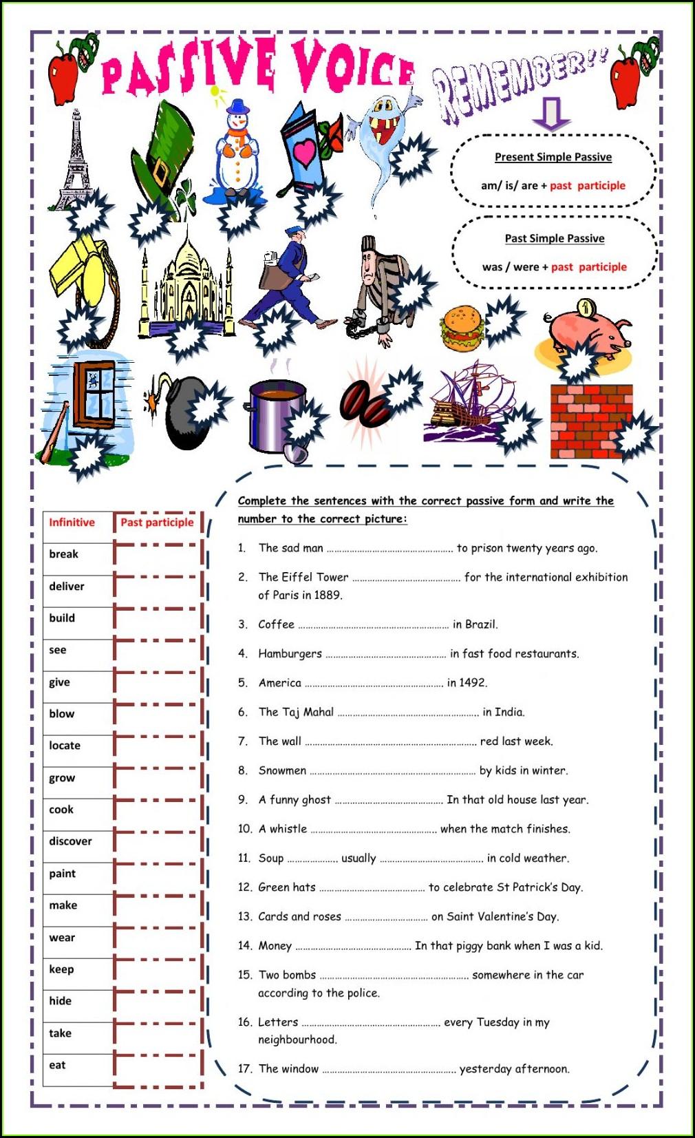 Past Simple Passive Worksheet Pdf