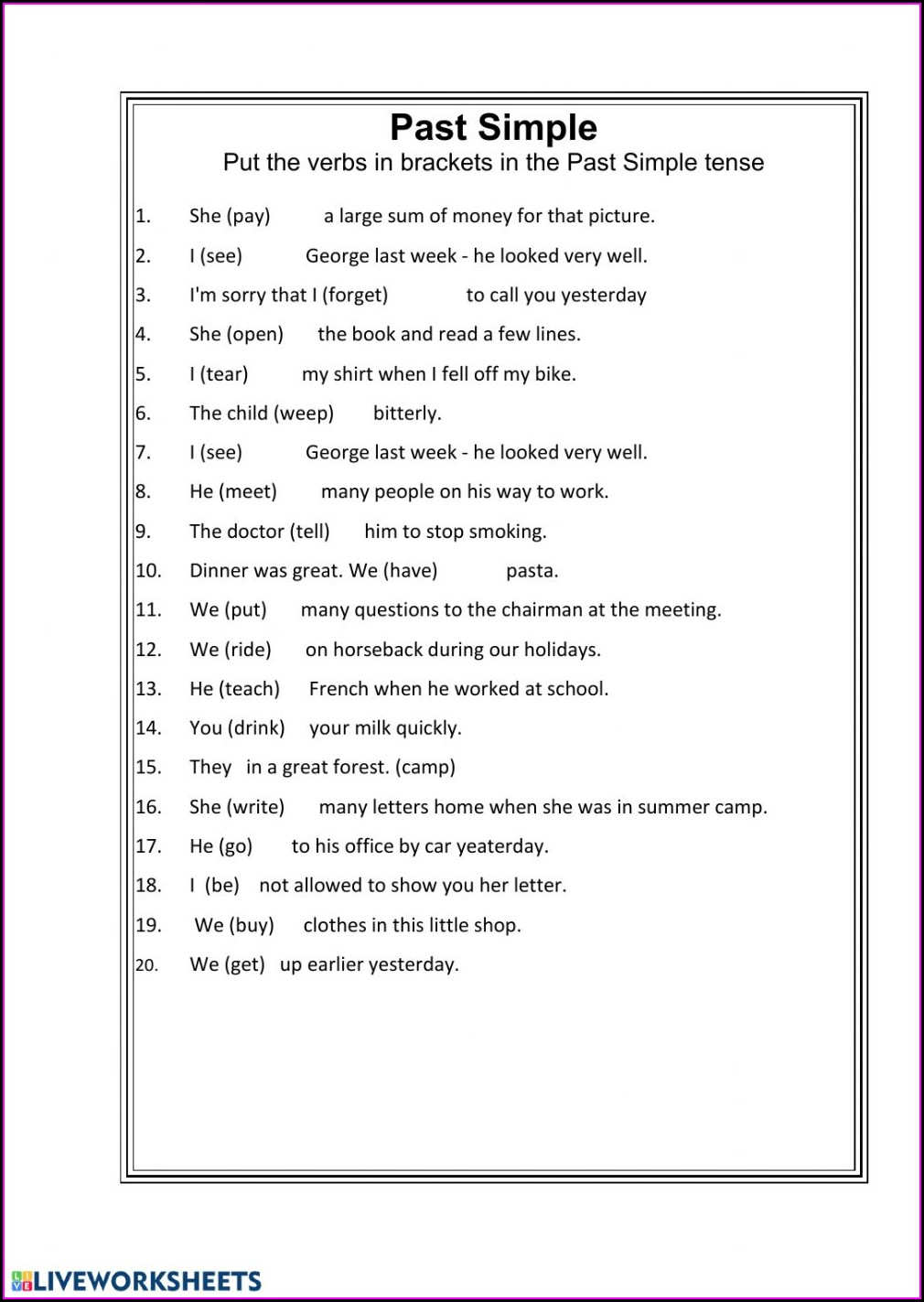 Past Simple Regular And Irregular Verbs Worksheet
