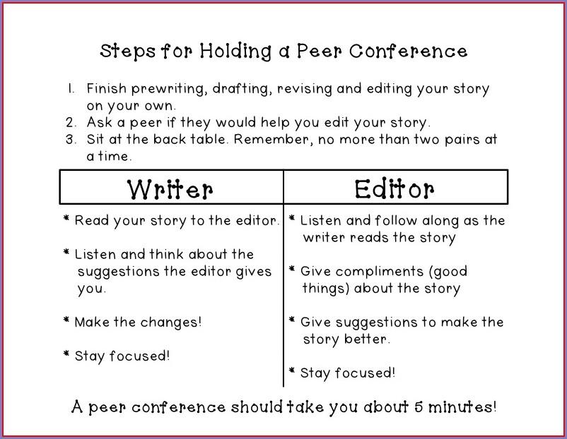 Peer Edit Writing Worksheet