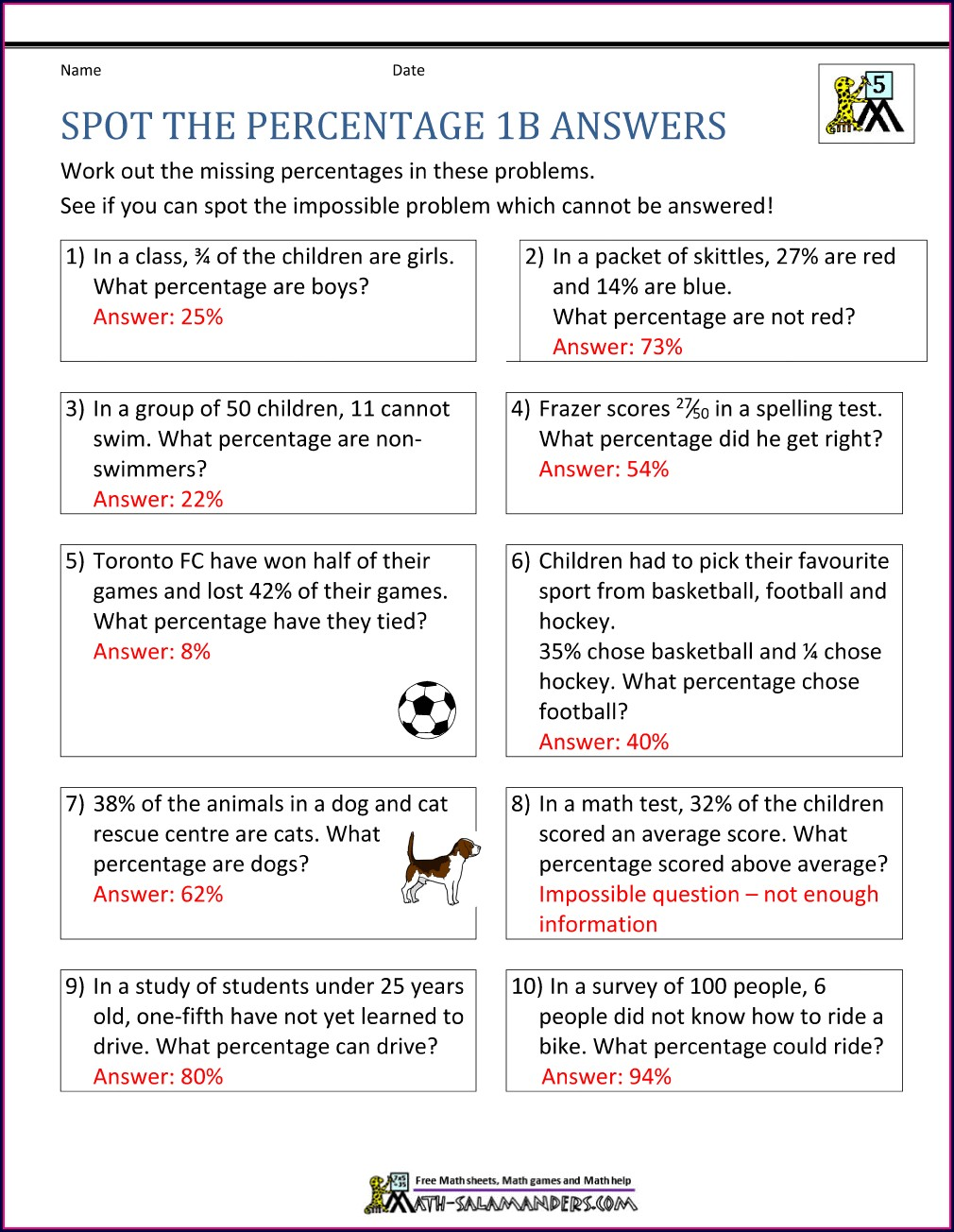 Percentage Word Questions Worksheet
