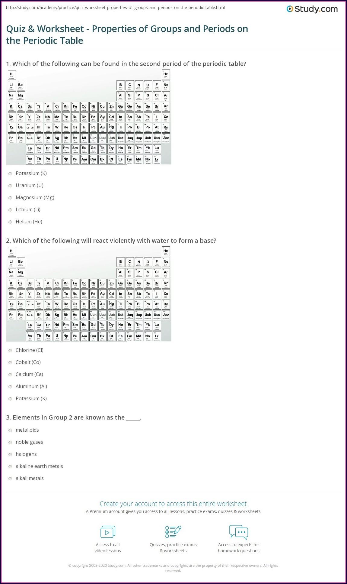 Periodic Table Quiz Worksheet