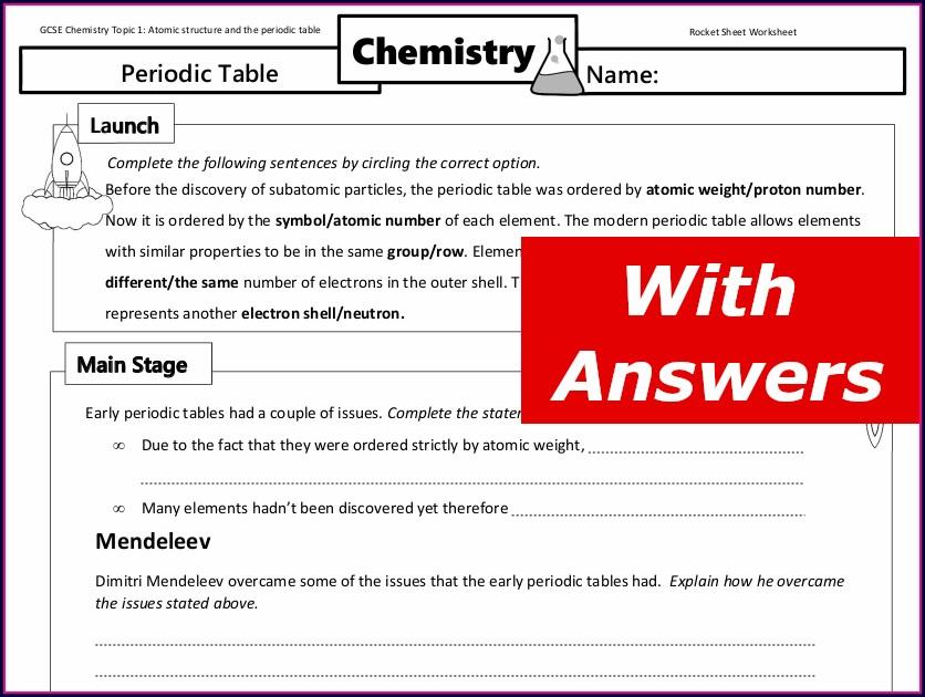 Periodic Table Worksheet Gcse