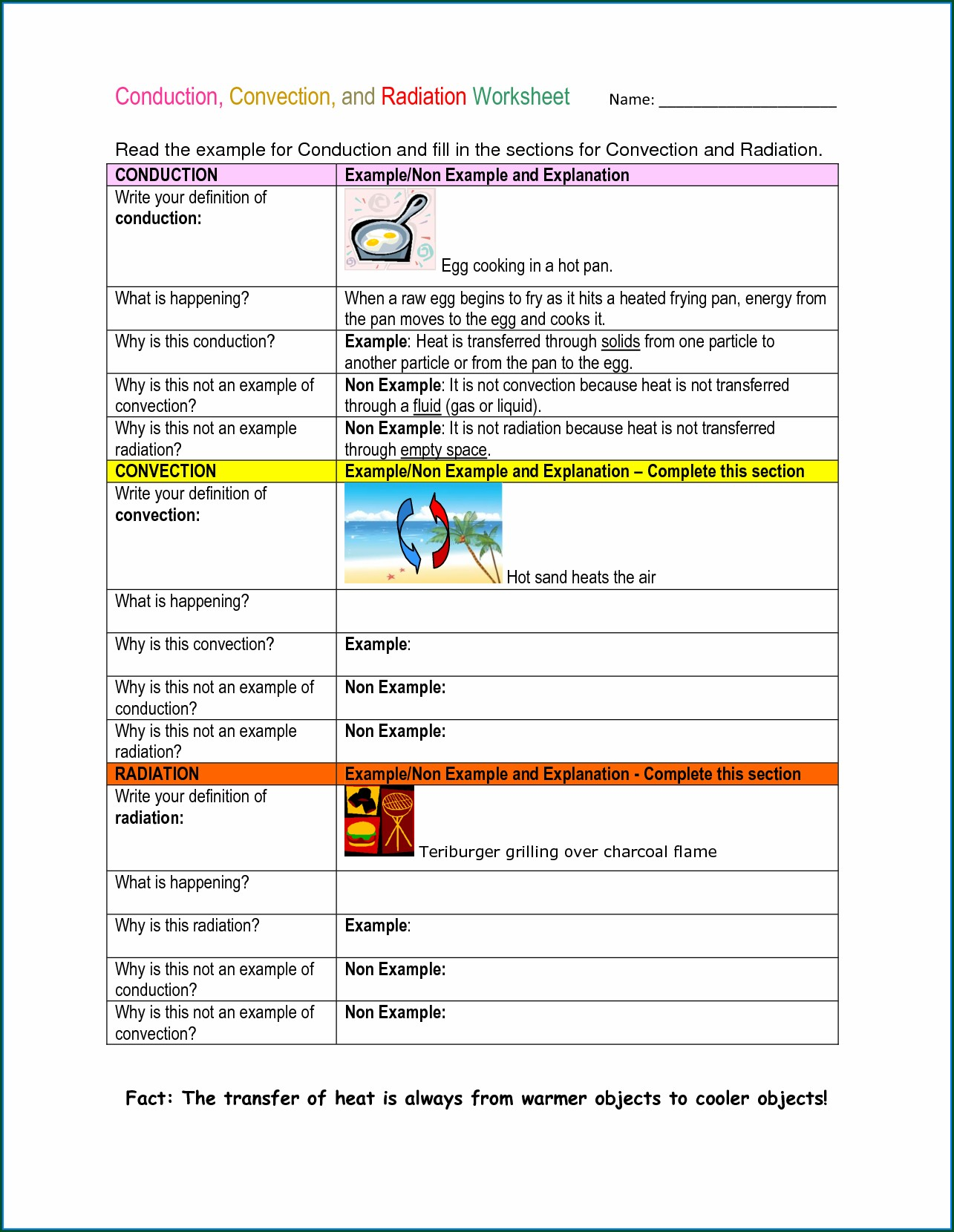 Physical Science Heat Energy Worksheet