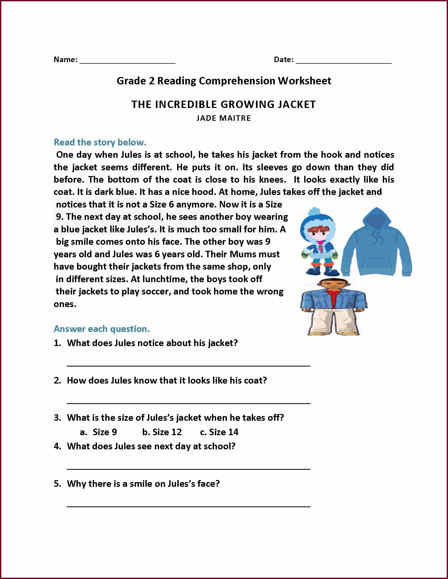 Picture Comprehension Worksheet For Grade 2