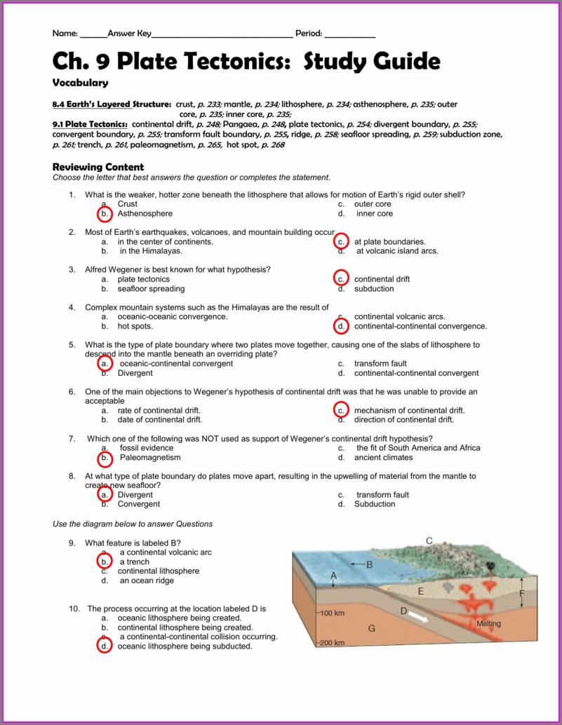 Plate Boundaries Worksheet Answer Key Pdf