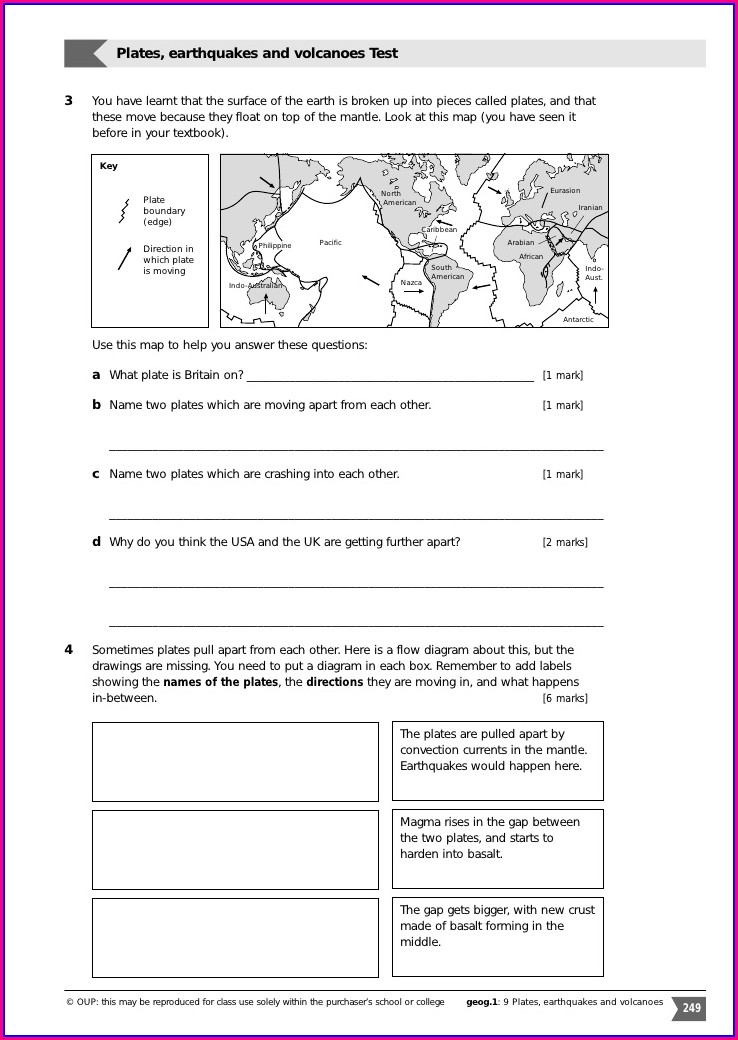 Plate Boundaries Worksheet Unit 3 Plate Tectonics Answer Key