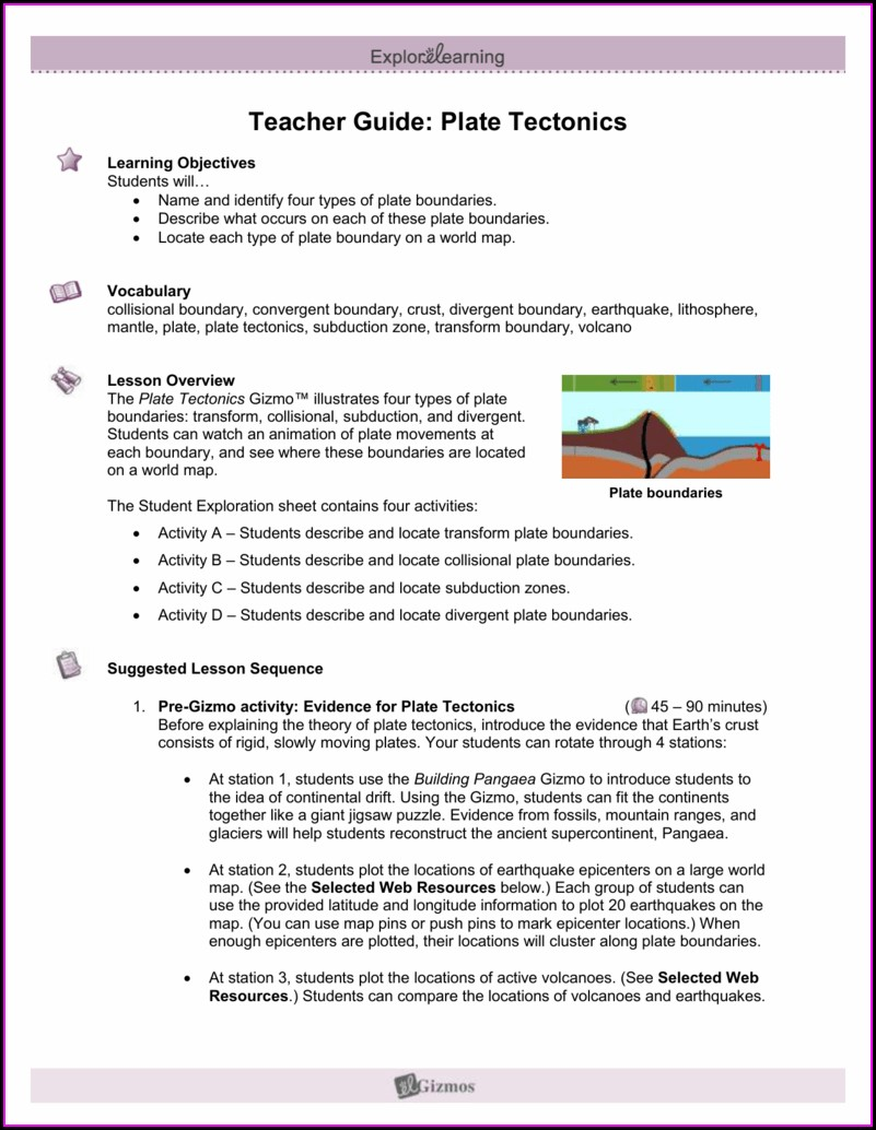Plate Tectonics Introduction Worksheet Answers