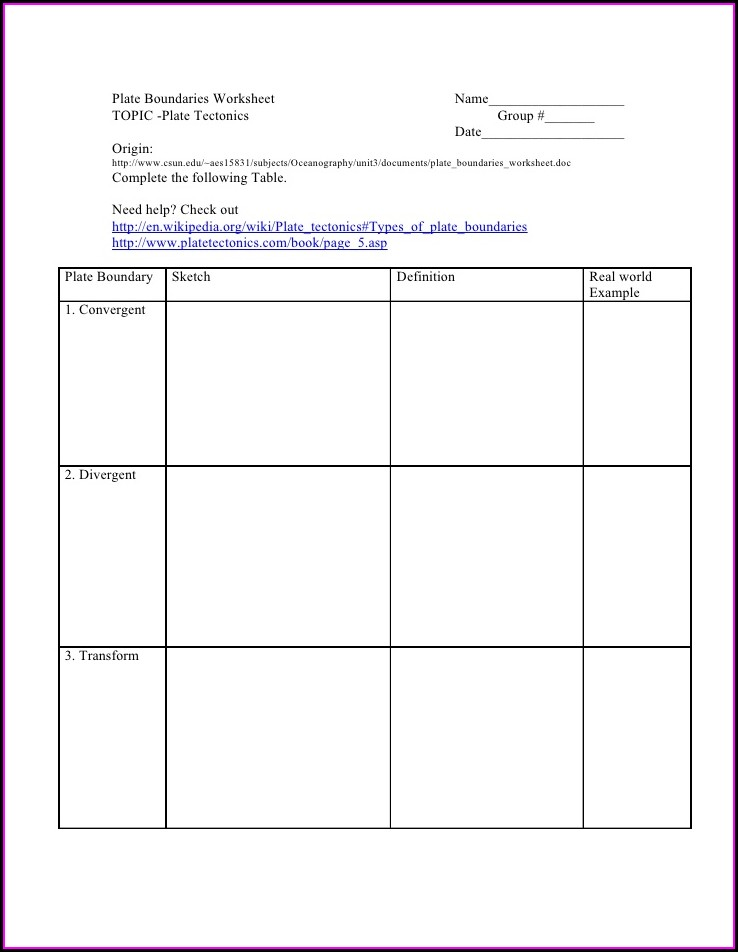 Plate Tectonics Know Your Boundaries Worksheet