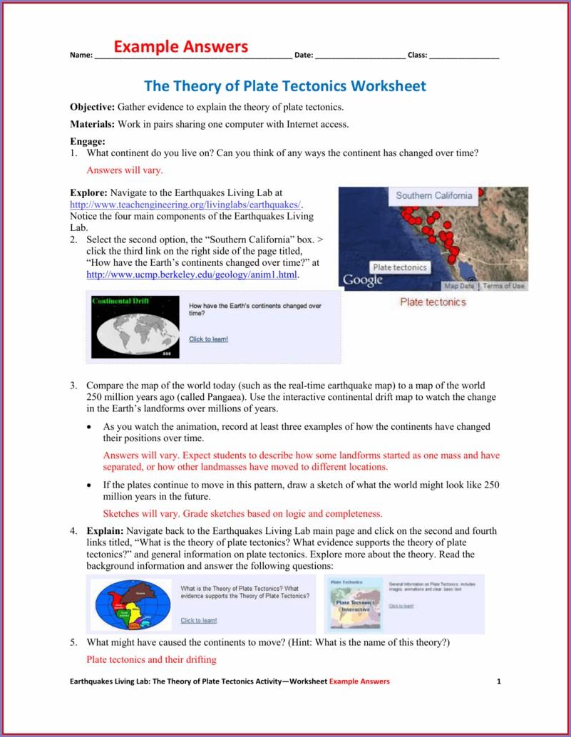 Plate Tectonics Movement Worksheet