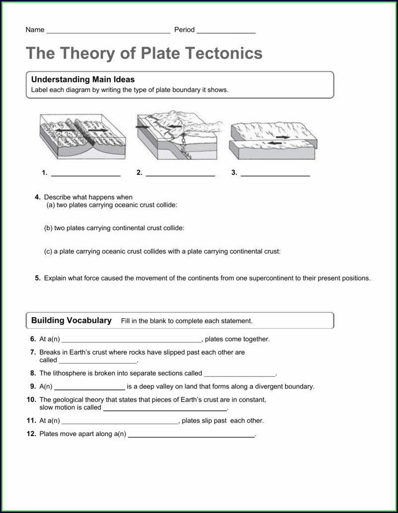 Plate Tectonics Questions Worksheet
