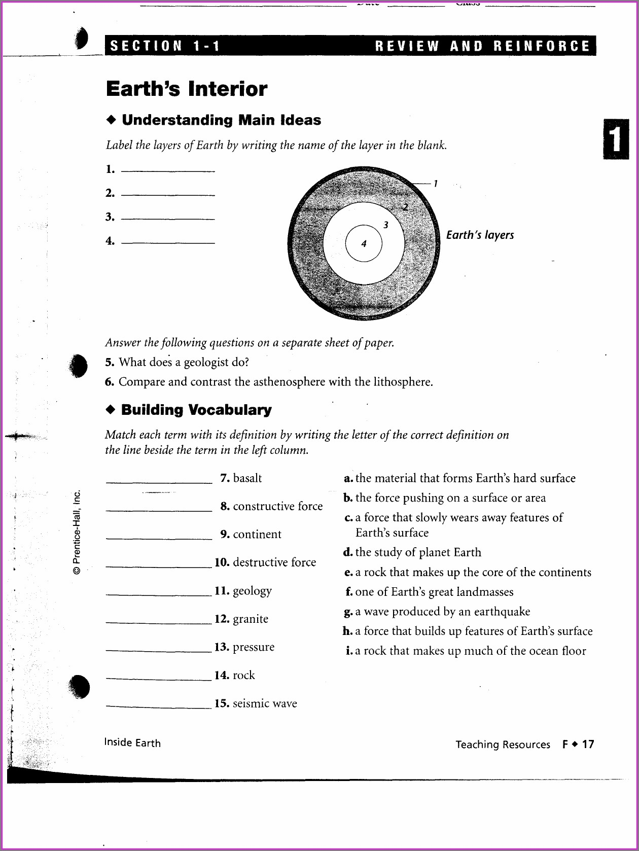 Plate Tectonics Review And Reinforce Worksheet Answers