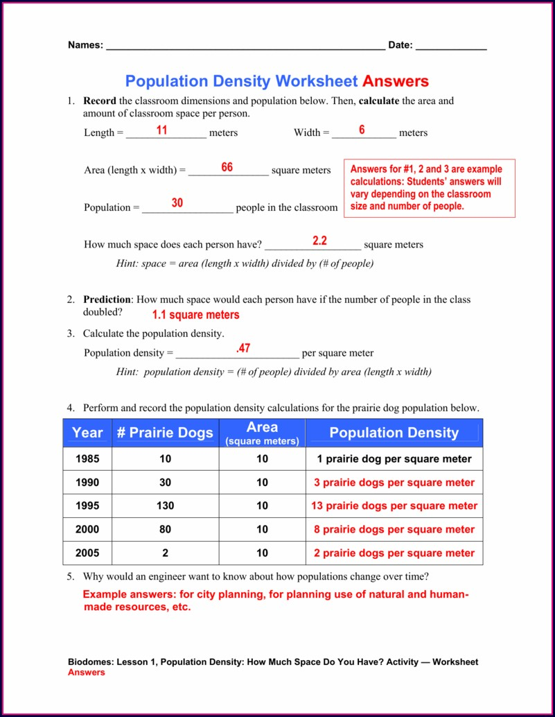 Population Density Worksheet Biology Answers
