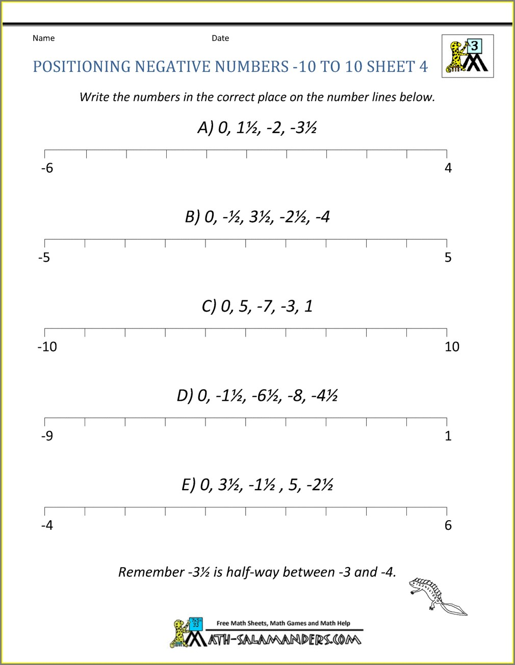 Positive And Negative Numbers Worksheet