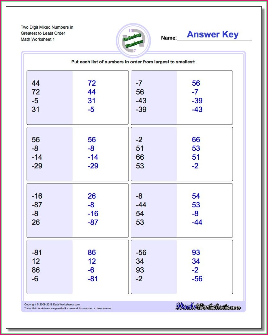 Positive And Negative Rational Numbers Worksheet