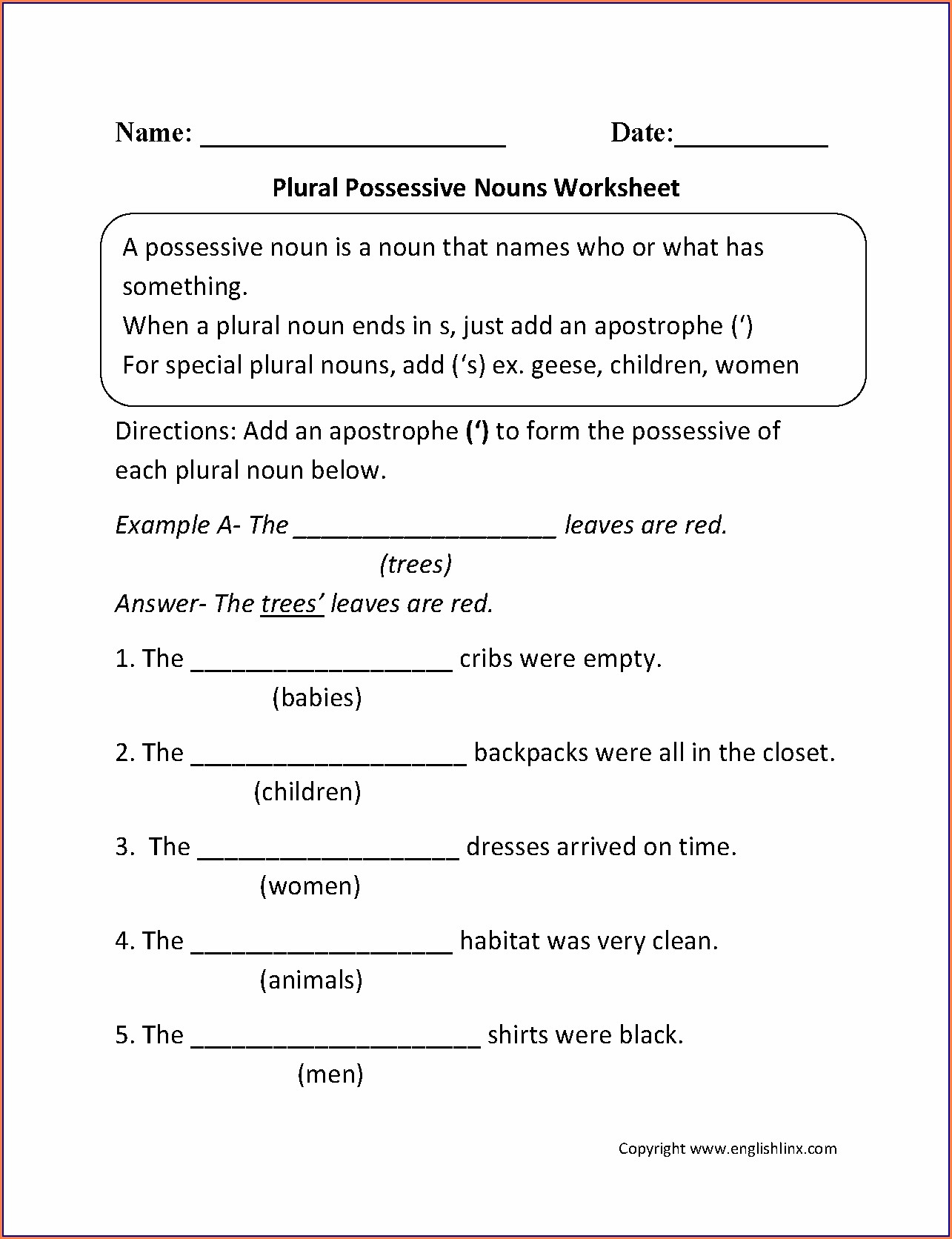 Possessive Pronouns First Grade Worksheets