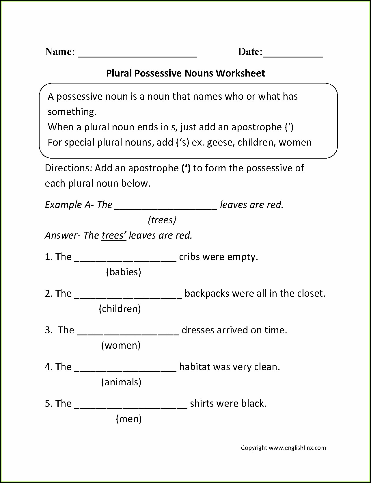 Possessive Pronouns Worksheet For Grade 2 Pdf