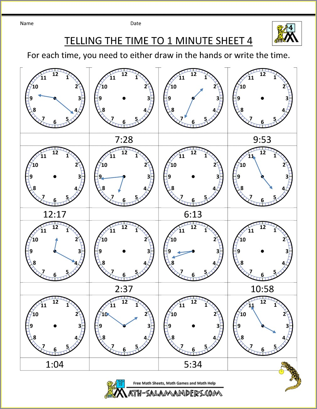 Practice Clocks For Telling Time Worksheets