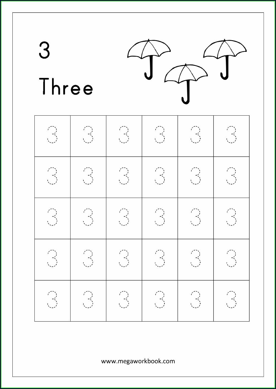 Practice Writing Number 3 Worksheet