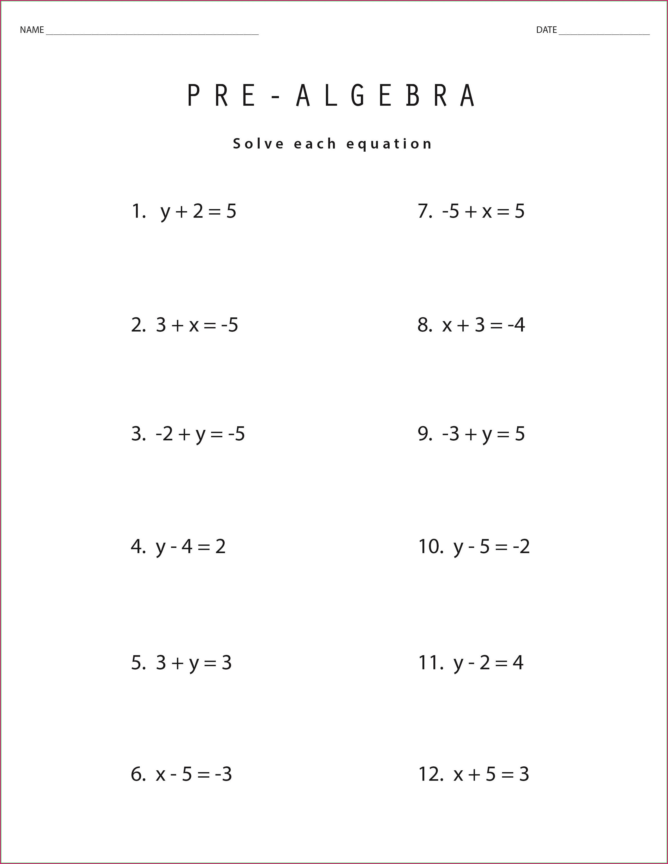 Pre Algebra 9th Grade Math Worksheets
