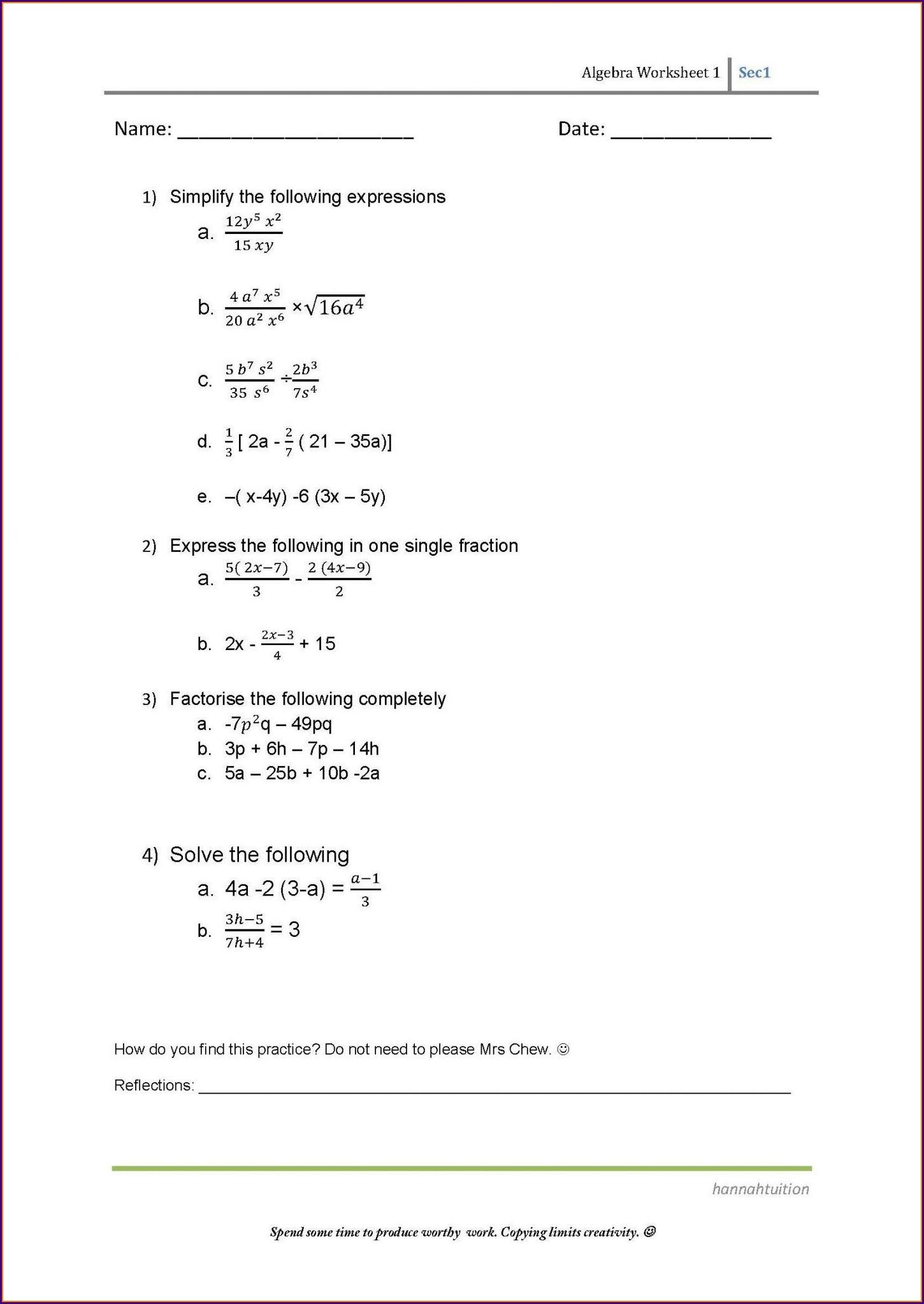 Pre Algebra Free Printable 8th Grade Math Worksheets